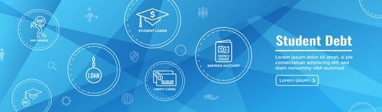 Aluno diplomado Loan Icon - estudante Loan Graphics para a ajuda econômica ou o auxílio da educação, os empréstimos de governo, e ilustração royalty free
