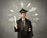 Aluno diplomado novo com as setas tiradas mão Fotografia de Stock Royalty Free
