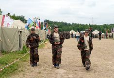 """Alunos do acampamento militar-patriótico ½ иÐ? DE Ð?Ð DO ² раР¿ Ð  Ð¸Ñ ÑŒ 'Ð¶Ð¸Ñ ¾"""" РД DE ПрÐ?Ð'Ð Fotografia de Stock"""