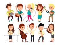 Alunos que jogam a música na fase Músicos das crianças que executam a mostra da música ilustração do vetor
