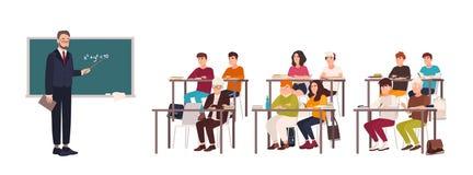 Alunos que sentam-se em mesas na sala de aula, demonstrando o bom comportamento e escutando atentamente o professor que está ao l ilustração do vetor