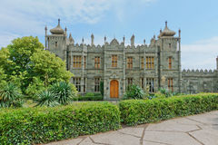 ALUPKA, RUSSIA - MAY 30, 2014: Vorontsov Palace in the town of Alupka, Crimea, Russia Royalty Free Stock Images
