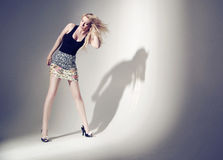 Aluring blond woman with long hair Royalty Free Stock Images