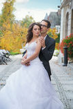 Aluring bride with her handsome bridegroom Royalty Free Stock Photo