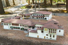 ALUSHTA, CRIMEA, RUSSIA-SEPTEMBER 19.2015: layout of the Khan`s Palace in Bakhchisaray Park Crimea in miniature Stock Images
