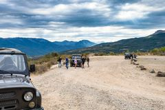 Tourists on jeep excursion in The Valley of Ghosts Royalty Free Stock Image