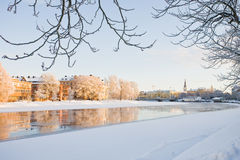 Alvagatan in Winter. Icy river in the middle of an scandiavian city. in the winter Royalty Free Stock Photography