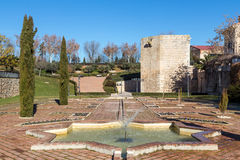 Alvar park tower Fañez, Guadalajara, Spain. Park with fountains, Alvar Fañez tower in the background Royalty Free Stock Photo