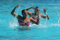 Alvarez Piedrahita and  Arango Estrada  of Colombia compete during the synchronized swimming duet free routine preliminary round Stock Photos