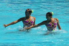 Alvarez Piedrahita and  Arango Estrada  of Colombia compete during the synchronized swimming duet free routine preliminary round Royalty Free Stock Image