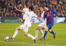 Alvaro Arbeloa och Leo Messi Royaltyfria Bilder