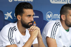 Alvaro Arbeloa of Real Madrid. During a Spanish League match against RCD Espanyol at the Power8 stadium on September 12 2015 in Barcelona Spain Stock Photos