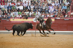 Alvaro Montes, bullfighter on horseback spanish witch garrocha Stock Images