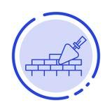 Alvenaria, pedreiro, construção, linha pontilhada azul linha ícone do curso ilustração royalty free
