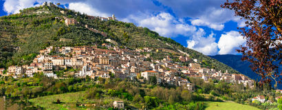 Alvito - härlig medeltida by i det Frosinone landskapet, Lazio Royaltyfria Foton