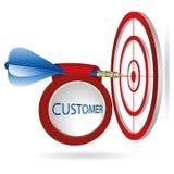 Alvo azul do alvo dos dardos Tiro bem sucedido com bandeira do cliente ilustração royalty free