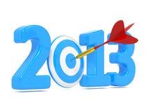 Alvo azul do whit seguinte do ano novo e dardo vermelho. Imagens de Stock Royalty Free