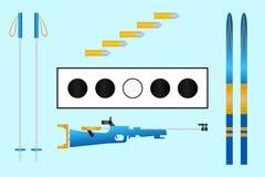 Alvo do Biathlon, esqui, cartuchos, rifle, varas Grupo de equipamento do biathlon Luz - fundo azul Esporte de inverno CI ilustração stock