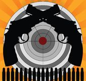 Alvo e pistolas Imagem de Stock