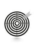 Alvo liso do ícone com o dardo no preto, isolado Imagem de Stock Royalty Free
