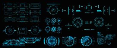 Alvo mega do grupo do bloco HUD Futuristic User Interface Interface de utilizador gr?fica virtual futurista do toque ilustração do vetor