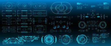 Alvo mega do grupo do bloco HUD Futuristic User Interface Interface de utilizador gr?fica virtual futurista do toque ilustração royalty free