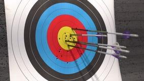 Alvo para o tiro do tiro ao arco Seta que bate o alvo filme