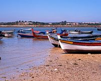 Alvor beach and fishing boats. Royalty Free Stock Photo