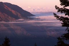 Alvoreça nas montanhas e na névoa no vale Fotografia de Stock Royalty Free