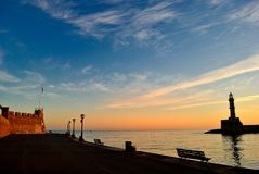 Alvoreça no porto de Chania na Creta Grécia Imagens de Stock
