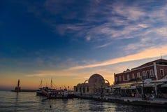 Alvoreça no porto de Chania na Creta Grécia Fotografia de Stock Royalty Free