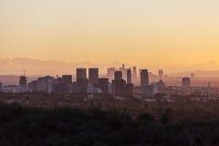 Alvorecer da cidade e da Los Angeles do século imagens de stock