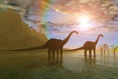 Alvorecer dos dinossauros fotografia de stock royalty free