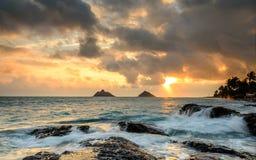 Alvorecer em Kailua Kona, Havaí Fotografia de Stock