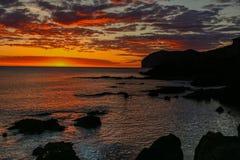Alvorecer esplêndido da praia de Mundaka Fotografia de Stock Royalty Free