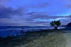 Alvorecer na praia rochosa fotografia de stock