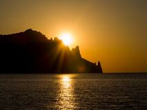 Alvorecer no Mar Negro Volcano Kara-Dag Imagem de Stock