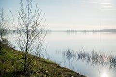 Alvorecer no rio Severnaya Dvina Foto de Stock