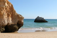 Alvors Beach, Portugal. Rocks on the beach in Alvors, Algarve, Portugal stock photography