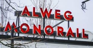 The Alweg Monorail in Seattle - SEATTLE / WASHINGTON - APRIL 11, 2017 royalty free stock photos