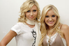 Aly and Aj portrait. Aly and Aj backstage at CD USA Royalty Free Stock Photo