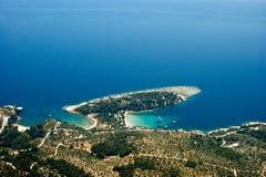 Alyki bay, aerial view. Alyki bay at Thassos island, Greece, aerial view stock photography