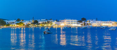 Alyki touristic area at Paros island in Greece at blue hour. Stock Photography