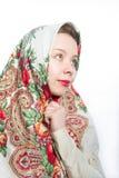 Alyonushka russian beauty with headscarf. Alyonushka beautiful russian belarusian woman with headscarf, she is looking for Ivanushka Stock Photo
