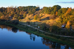 Alytus mounds and Nemunas river, view from the White Rose Bridge. Near Alytus stock photography