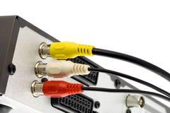 Alza con el gato el cable audio/video en el sintonizador TV Imagenes de archivo