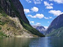 Alza de naturaleza en el bosque, el agua del fiordo, fondo del día soleado imagen de archivo libre de regalías