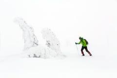 Alza del invierno que sube en montañas nevosas del invierno blanco imagen de archivo libre de regalías