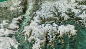 Alza le montagne verticalmente fra l'oceano con le transizioni illustrazione vettoriale