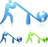 Alzando il mondo (potenza d'una leva) Fotografia Stock Libera da Diritti